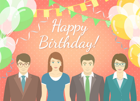office party: Modern flat stylized vector illustration of corporate party. Group of office workers in business suits on the background of balloons and garlands. Holiday frame for party invitation or greetings card