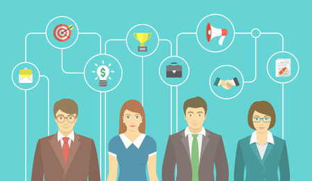 employee development: Modern flat vector illustration of the group of office people in business suits with conceptual icons of marketing, advertising and cooperation. Business collaboration and teamwork concept Illustration