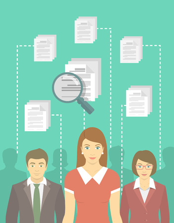 candidates: Modern vector flat conceptual illustration of human resources management, searching for perfect staff, analyzing resume, head hunting concept. Woman in business dress in front of other candidates Illustration