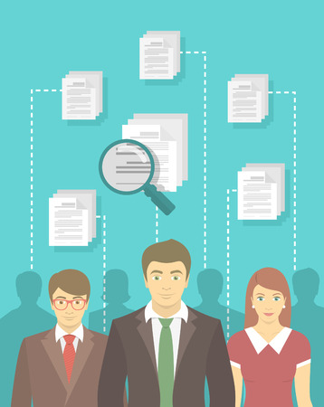 candidates: Modern vector flat conceptual illustration of human resources management, searching for perfect staff, analyzing resume, head hunting concept. Man in business suit in front of other candidates