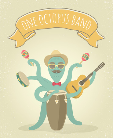 latino: Cartoon illustration of latino octopus playing congo, acoustic guitar, tambourine and maracas. Animal character for music poster, cover or shirt printing. Background with a ribbon and grunge effect