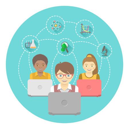 niños estudiando: Ilustración plana moderna del grupo de niños con portátiles y los iconos de la educación en un círculo. Concepto internacional de la educación en línea. Bandera conceptual o emblema