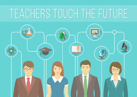 Modern flat vector conceptual banner of a teaching staff with education icons. Group of young teachers, men and women with symbols of various school subjects. Infographics design element Stock Illustratie