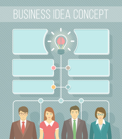 team planning: Modern flat vector infographics elements for new business idea information, start up, collaboration or teamwork. Group of office workers in business suits. Brainstorming concept with a light bulb and speech bubbles Illustration