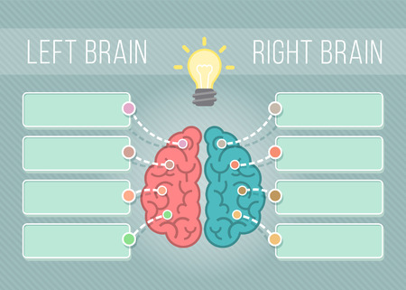 logical: Modern flat conceptual vector illustration of left and right hemispheres of the brain with speech bubbles for text. Logical and creative functions of the brain. Infographics element