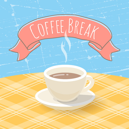 Vector flat stylized illustration of a coffee cup on a checkered tablecloth with ribbon and inscription. Grunge texture. Vector