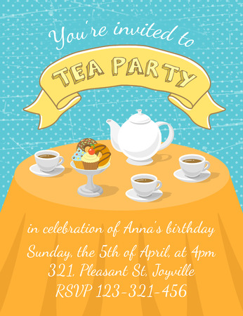 Modern flat vector tea party invitation card with tea cups, teapot and dessert on the table, with an inscription and ribbon. Invitation card template for web or mobile using, printing or animation Illustration