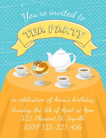 Tarjeta de invitación de la fiesta moderna plana té vector con tazas de té, la tetera y el postre en la mesa, con una inscripción y la cinta. Plantilla de tarjeta de invitación para la web o móvil utilizando, la impresión o la animación Foto de archivo - 37762506