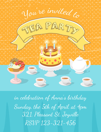 Modern flat vector tea party invitation card with tea cups, teapot, birthday cake with candles and baking on the table, with an inscription and ribbon. Invitation card template for web or mobile using, printing or animation. Vector