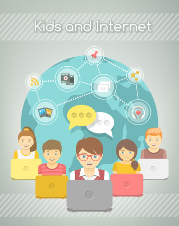 social web sites: Modern flat vector conceptual illustration of kids with computers sharing multimedia information on Internet. Social media networking infographics. Boys and girls with media icons on a globe background