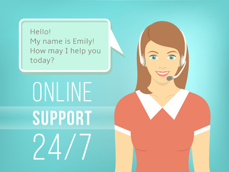 Modern flat vector illustration of young pretty girl, employee of call center support and help service with headphones and speech bubble for chat with visitors of web site. Helpdesk online concept.