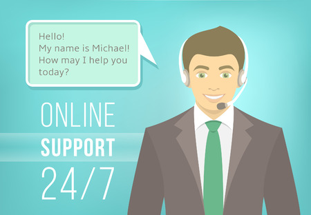 man customer support: Modern flat vector illustration of young handsome man, employee of call center support and help service with headphones and speech bubble for chat with visitors of web site. Helpdesk online concept