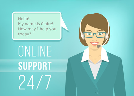 Modern flat vector illustration of young pretty woman, employee of call center support and help service with headphones and speech bubble for chat with visitors of web site. Helpdesk online concept.