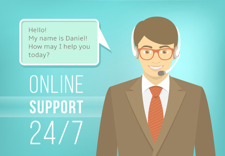 e survey: Modern flat vector illustration of young handsome man, employee of call center support and help service with headphones and speech bubble for chat with visitors of web site. Helpdesk online concept