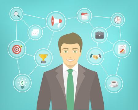 new start: Modern flat conceptual illustration of ambitious young smiling businessman in a suit with icons of marketing, analytics, finance. New start up concept. Consulting service. Infographics design element