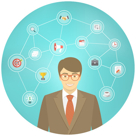 manager: Modern flat conceptual illustration of ambitious young smiling businessman in a suit with icons of marketing, analytics, finance. New start up concept. Consulting service. Infographics design element