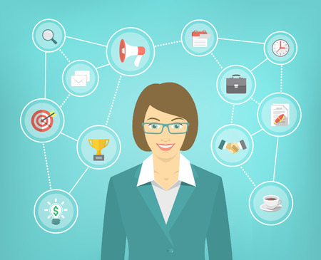 new start: Modern flat conceptual illustration of ambitious young smiling business woman with icons of marketing, analytics, finance. New start up concept. Consulting service. Infographics design element.