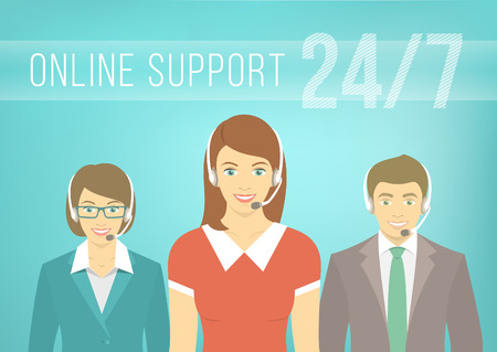 support center: Modern flat vector illustration of young employees of call center support and help service, women and man, with headphones and inscription. Help desk online concept.