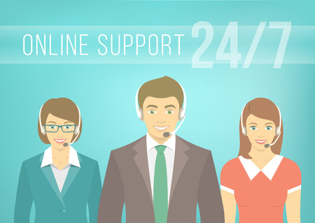 Modern flat vector illustration of young employees of call center support and help service, man and women, with headphones and inscription. Help desk online concept.