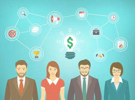 マーケティング、広告および協力の概念のアイコンとビジネス スーツ、男性と女性のオフィスの人々 の近代的なフラット ベクトル バナー。ビジネ  イラスト・ベクター素材