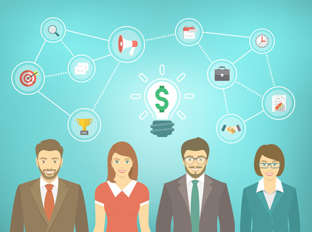 Modern flat vector banner of office people in business suits, men and women with conceptual icons of marketing, advertising and cooperation. Business collaboration, teamwork and start up concept.