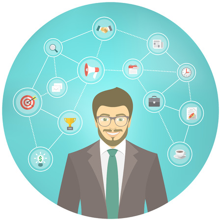new start: Modern flat conceptual illustration of young smiling hipster businessman in a suit with icons of marketing, analytics, finance. New start up concept. Consulting service. Infographics design element.