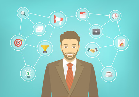 happy employees: Modern flat conceptual illustration of young smiling hipster businessman in a suit with icons of marketing, analytics, finance. New start up concept. Consulting service. Infographics design element.