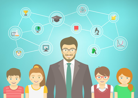 staff training: Modern flat vector conceptual illustration of man teacher and pupils with school icons and concepts. Boys and girls in bright clothes. Kids infographics element Illustration