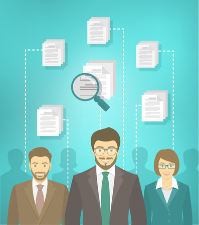 analyzing: Vector flat conceptual illustration of the human resources management, searching for a perfect specialist, analyzing resume of applicants, head hunting concept. Group of applicants of different genders in business suits with CV icons and magnifier Illustration