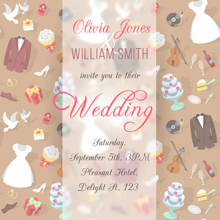 Modern flat wedding invitation with text, blurred background and pattern of wedding accessories, ready for creating a website  background, invitation or greeting card, printing etc Vector