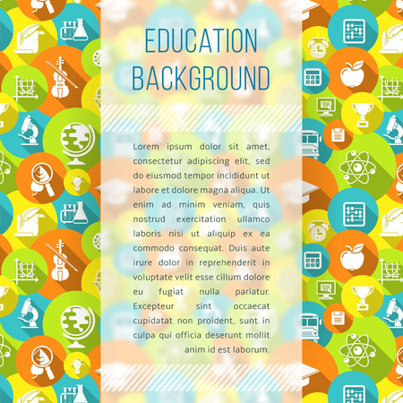 periodical: Modern flat blurred background with school white silhouette icons. Educational template with empty space for text. Suited for design of book, notepad, notebook cover, article in periodical, web banner