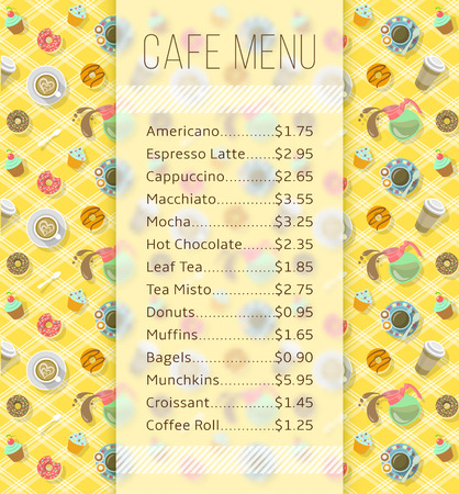 bakery price: Modern flat vector template of menu for cafe, cafeteria, bakery, coffee shop, fast food restaurant, bar with space for text and icons of tea, coffee and sweets. Background for flayer or brochure design Illustration