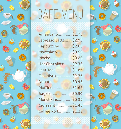 cafeteria: Modern flat vector template of menu for cafe, cafeteria, bakery, coffee shop, fast food restaurant, bar with space for text and icons of tea, coffee and sweets. Background for flayer or brochure design Illustration