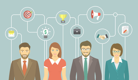 women and men: Modern flat vector banner of office people in business suits, men and women with conceptual icons of marketing, advertising and cooperation. Business collaboration, teamwork and start up concept.