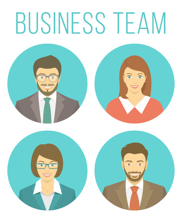 Set of modern flat round vector avatars of business people, men and women in business suits. Portraits of smiling young adults in blue circles. Male and female user profile pictures