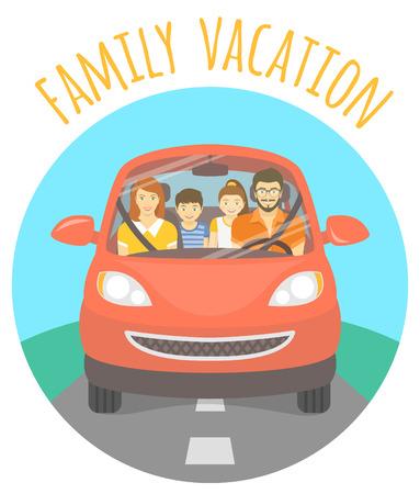 marido y mujer: Ilustraci�n vectorial Moderno piso de unas vacaciones en familia. Marido, esposa, hijo e hija en el camino hacia un picnic al aire libre. Vista frontal de una familia feliz en coche rojo en la carretera