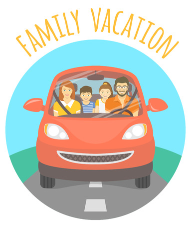 husband and wife: Modern flat vector illustration of a family vacation. Husband, wife, son and daughter on the way to a picnic outdoors. Front view of a happy family in red car on the road