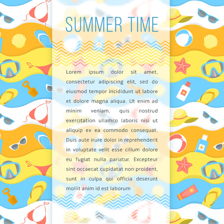 informational: Modern flat stylized summer vacation background with beach essentials and sunbathing accessories. Blurred background with space for text. Vector template for informational banner or promotional flyer