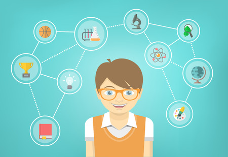 discovering: Modern flat vector conceptual illustration of a geek boy with icons of his different educational interests. Early intellectual development concept. School infographics