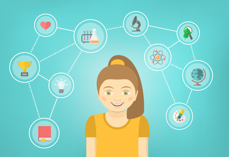 interests: Modern flat vector conceptual illustration of a girl with icons of her different educational interests. Early intellectual development concept. School infographics