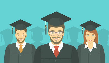 higher intelligence: Modern flat vector horizontal illustration of the group of European young people, men and woman, graduates in graduation gowns and mortarboards. Advanced training or business school concept