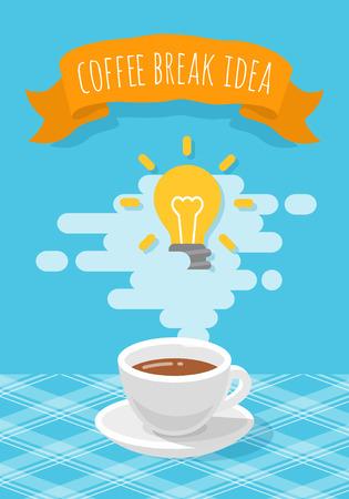 aromatique: Moderne stylis�e vecteur plate illustration d'une tasse de caf� aromatique avec de la vapeur et une ampoule. Nouveau concept de l'id�e cr�ative. Inspir� aper�u lors de la pause-caf� Illustration