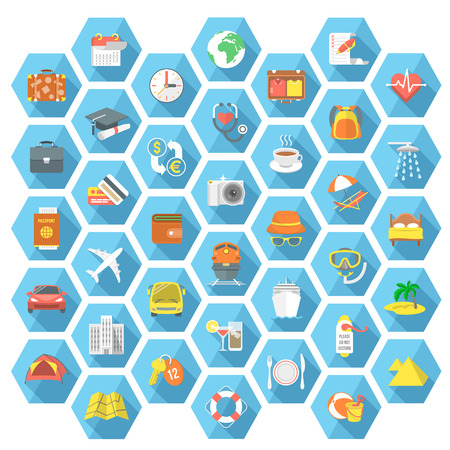 해외로: Set of modern flat design vector icons of travel summer vacation tourism camping beach pastime business trip cruise family weekends and education abroad. Conceptual symbols in hexagons