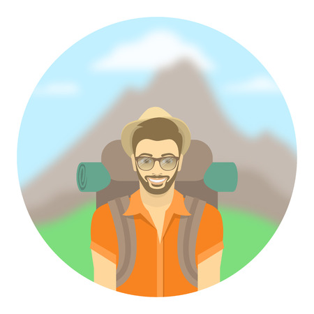 explores: Modern flat round vector illustration of a smiling young man tourist with a backpack on the background of mountain landscape. Hiking and camping activity concept. Happy hipster guy explores the world.