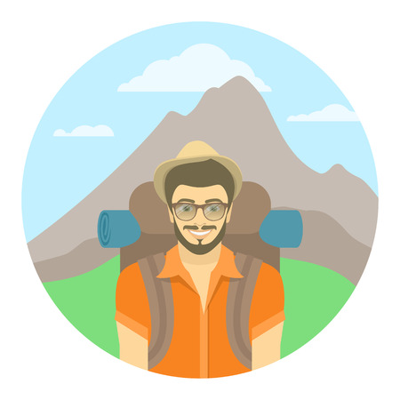 Modern flat round vector illustration of a smiling young man tourist with a backpack on the background of mountain landscape. Hiking and camping activity concept. Happy hipster guy explores the world.