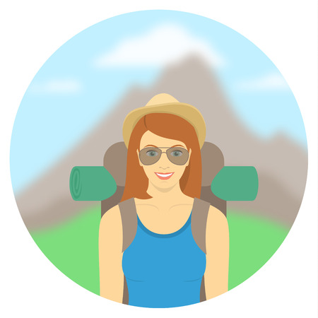 mountain climber: Modern flat round illustration of smiling young woman tourist with a backpack on the background of mountain landscape Illustration