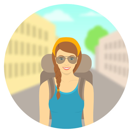 woman hiking: Modern flat round vector illustration of smiling young woman tourist with backpack on background of city landscape. Tourism and travel to different countries concept. Hiking and backpacking concept