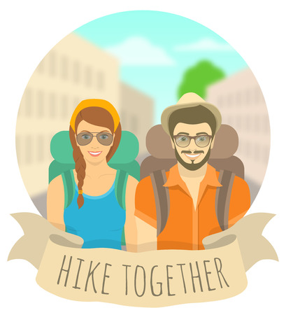 couple hiking: Modern flat round vector illustration of a smiling couple of young girl and boy tourists with a backpacks on the background of city landscape. Tourism and travel to different cities and countries concept. Hiking and backpacking banner. Happy hipster coupl