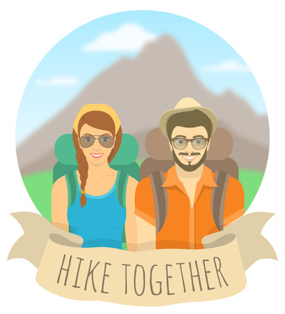 ex: Modern flat round vector illustration of a smiling couple of young girl and boy tourists with backpacks on the background of mountain landscape with ribbon. Tourism and travel concept. Hiking climbing and camping conceptual banner. Happy hipster couple ex