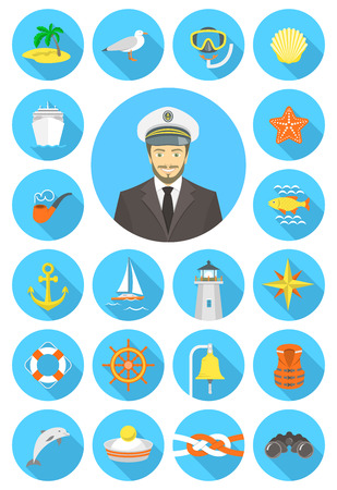 Set of modern flat vector nautical icons of sea equipment navigation transportation marine animals with young attractive captain. Theme of sea or ocean cruise tourism and travel. Round conceptual symbols with long shadows for web site or mobile applicatio Vector